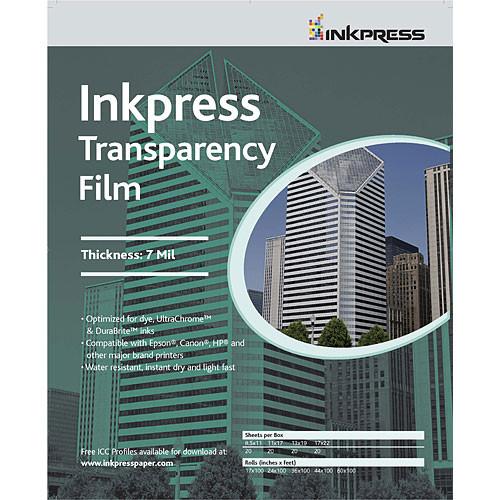 """Inkpress Media Transparency Film for Inkjet Printers (8.5 x 11"""", 20 Sheets)"""