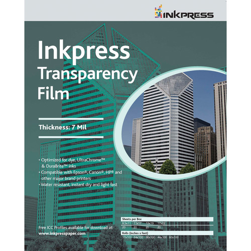 "Inkpress Media Transparency Film for Inkjet Printers (8.5 x 11"", 5 Sheets)"