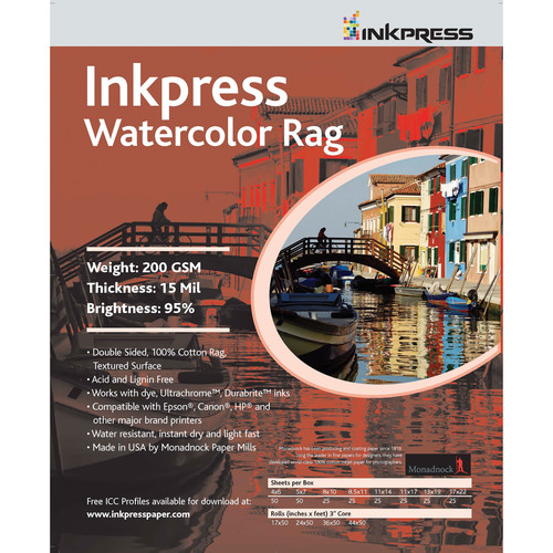 "Inkpress Media Watercolor Rag (8.5 x 11"", 25 Sheets)"