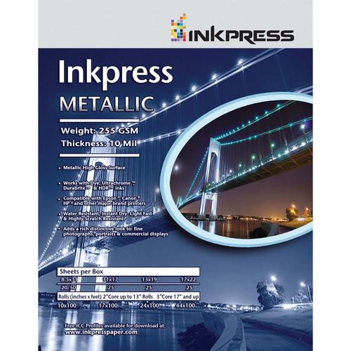 """Inkpress Media Metallic Photo Paper (255 gsm, 11 x 17"""", 279 x 432mm, 25 Sheets)"""