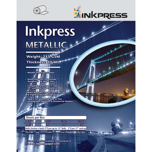 "Inkpress Media Metallic Photo Paper (255 gsm, 24"" x 100' Roll)"