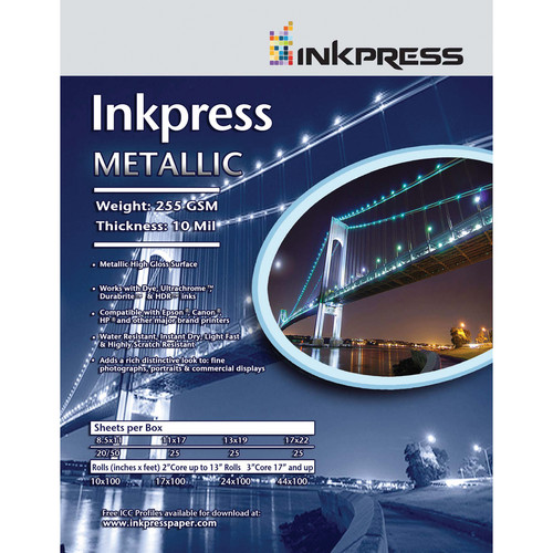 "Inkpress Media Metallic Photo Paper (255 gsm, 8.5 x 11"", Letter, 20 Sheets)"