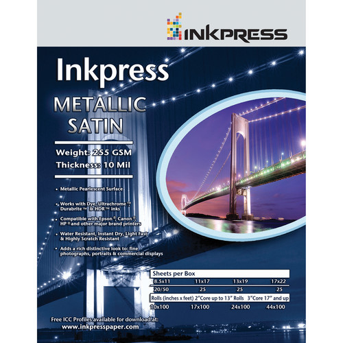 "Inkpress Media Metallic Satin Printing Paper (11 x 14"", 50 Sheets)"