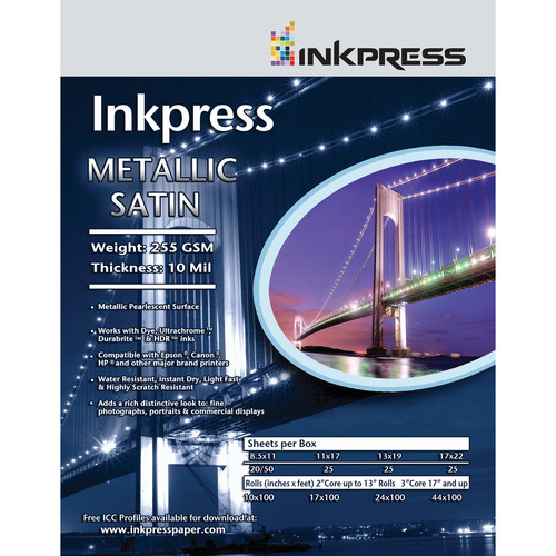 "Inkpress Media Metallic Satin Photo Paper 255 GSM, 24""x100' Roll"