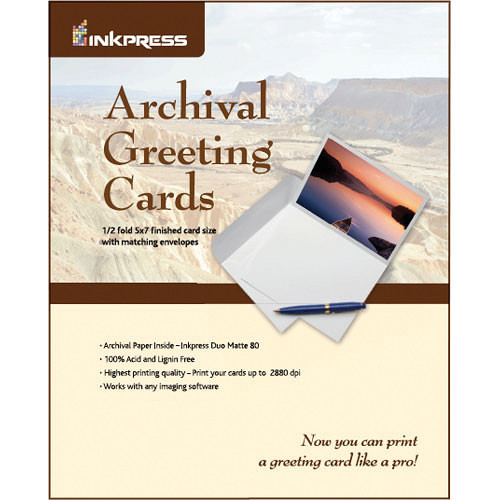 Inkpress Media Pre-Scored Archival Greeting Card Paper with Matching Envelopes (11 x 7.26'', 100 Sheets)