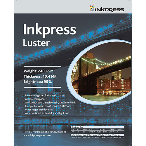 "Inkpress Media Luster Paper (5 x 7"", 50 Sheets)"