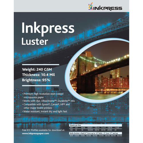 "Inkpress Media Luster Paper (8.5 x 11"", 30 Sheets)"