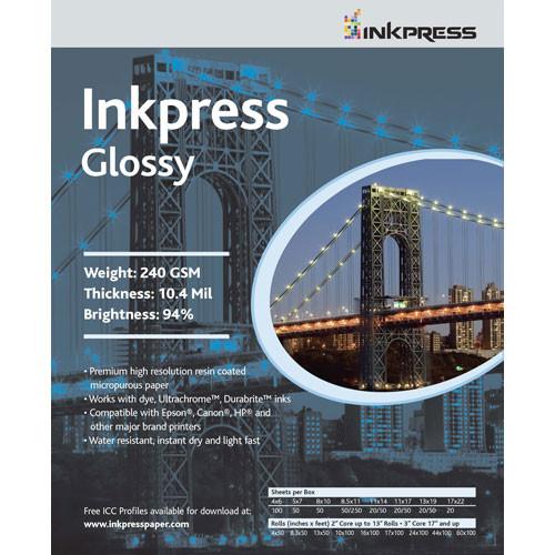 "Inkpress Media RC Glossy Inkjet Paper (240gsm) - 11 x 14"" (100 Sheets)"