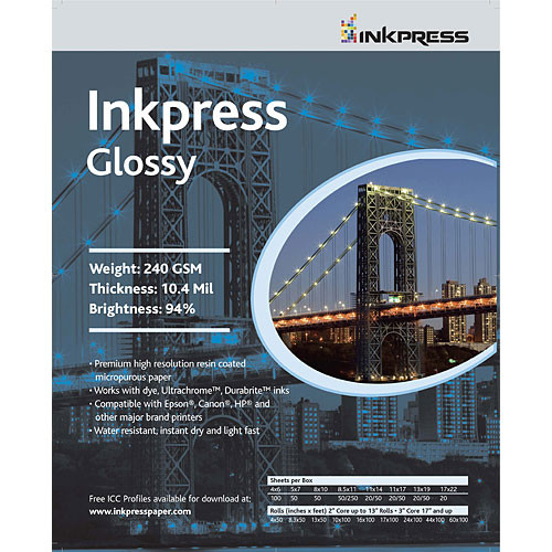 "Inkpress Media RC Glossy Inkjet Paper (240gsm) - 11 x 14"" (20 Sheets)"