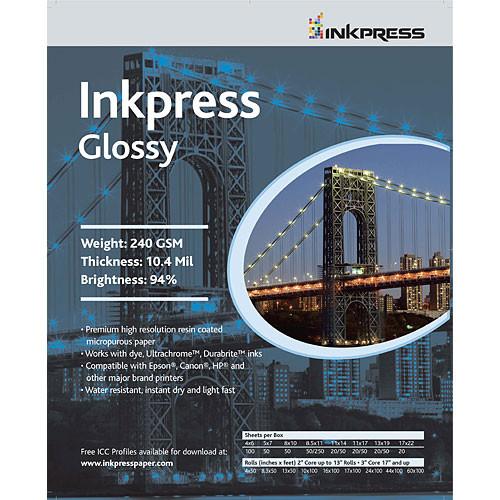 "Inkpress Media RC Glossy Inkjet Paper (240gsm) - 11 x 14"" (50 Sheets)"