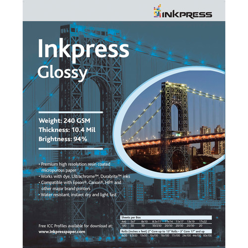 "Inkpress Media Glossy 8.5x11"" Paper For UltraChrome Ink (5 Sheets)"