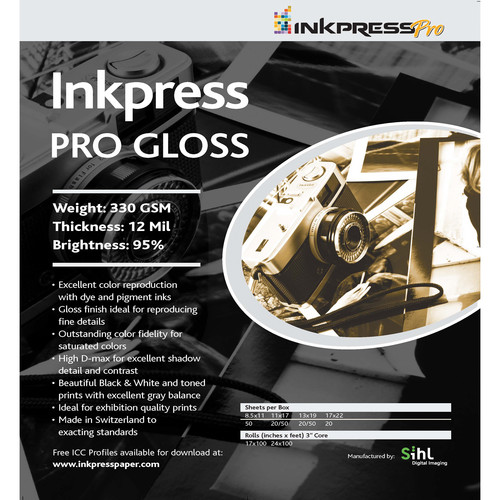 "Inkpress Media Pro Glossy Paper (4 x 6"", 50 Sheets)"
