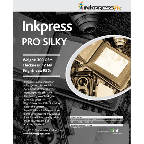 "Inkpress Media Pro Silky Paper for Inkjet (13 x 19"", Super-B, 50 Sheets)"