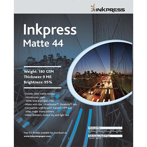 "Inkpress Media Print Plus Matte 44 Paper (2-sided) for Inkjet - 11x17"" (B) - 50 Sheets"
