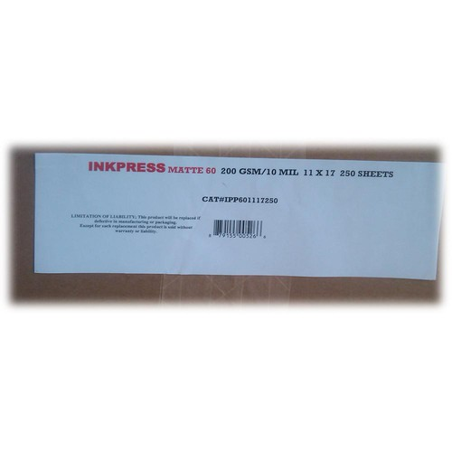 Inkpress Media Matte 60 Bright White Inkjet Paper 10 mil/200 gsm 11 x 17""