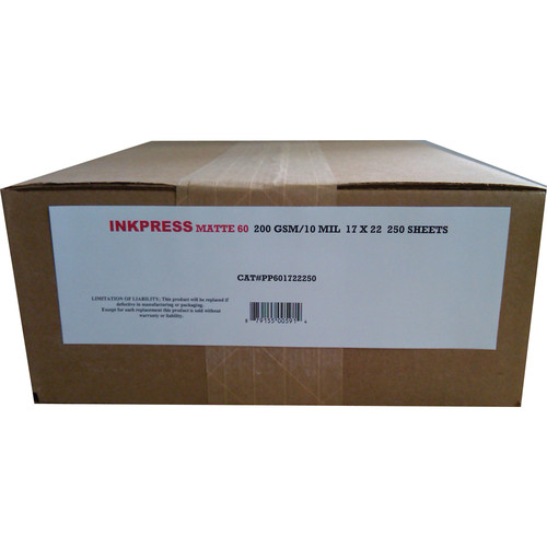 "Inkpress Media Matte 60  Inkjet Printer Paper 10 mil / 200gsm 17 x 22"" 250-Sheets"