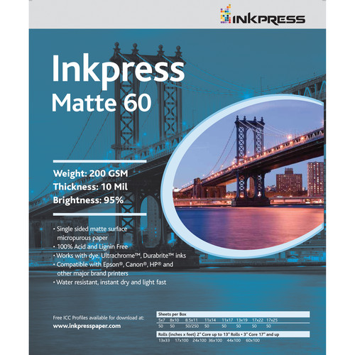 "Inkpress Media Matte 60 Paper (8.5x11"" - 5 Sheets)"