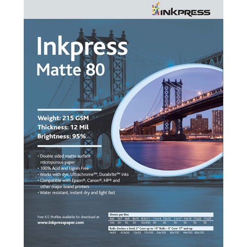 "Inkpress Media Duo Matte 80 Paper (11 x 14"", 100 Sheets)"