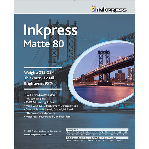 "Inkpress Media Duo Matte 80 Paper (4 x 6"", 100 Sheets)"