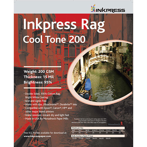 "Inkpress Media Picture Rag Cool Tone Paper (2-Sided, 200 gsm) for Inkjet - 13"" Wide Roll - 50' Long"
