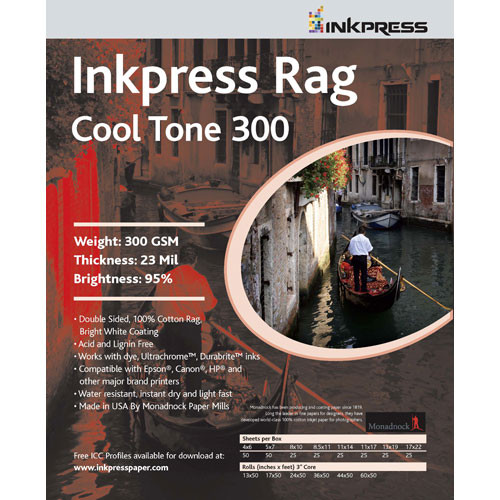 "Inkpress Media Photo Rag Cool Tone Paper (300gsm) - 12x12"" - 25 Sheets"