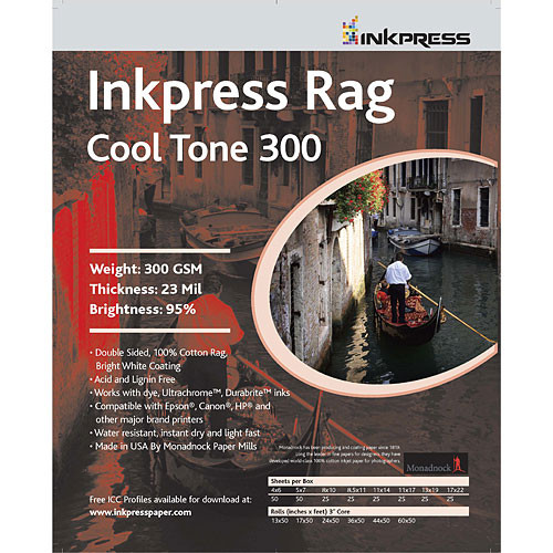 "Inkpress Media Picture Rag Cool Tone Paper (2-Sided, 300 gsm) for Inkjet - 44"" Wide Roll - 50' Long"