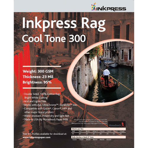 "Inkpress Media Inkpress Rag Cool Tone 300 Double Sided (8.5x11"" - 5 Sheets)"