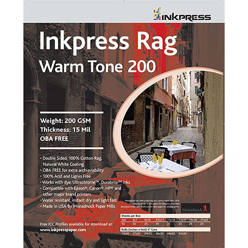 "Inkpress Media Picture Rag Warm Tone Paper (60"" x 50' Roll, 200 gsm)"