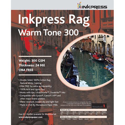 "Inkpress Media Rag Warm Tone Inkjet Paper 300 gsm 17"" x 50' Roll"