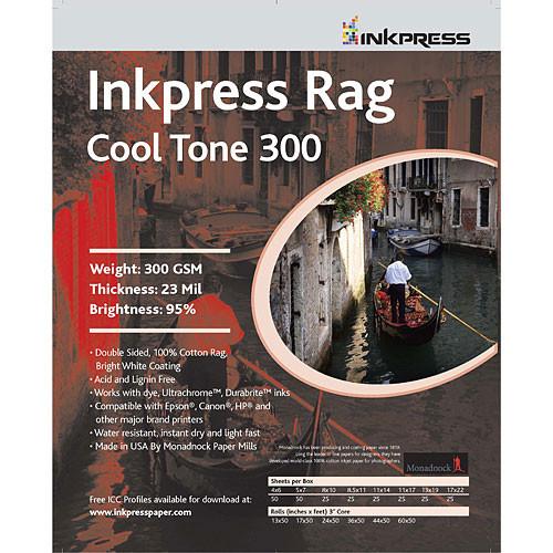 "Inkpress Media Rag Cool Tone 300 Paper (13 x 19"", 25 Sheets)"