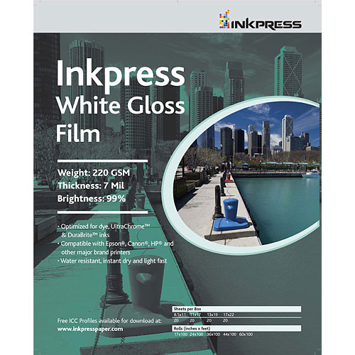 "Inkpress Media White Gloss Film ((C) 17 x 22"", 20 Sheets)"