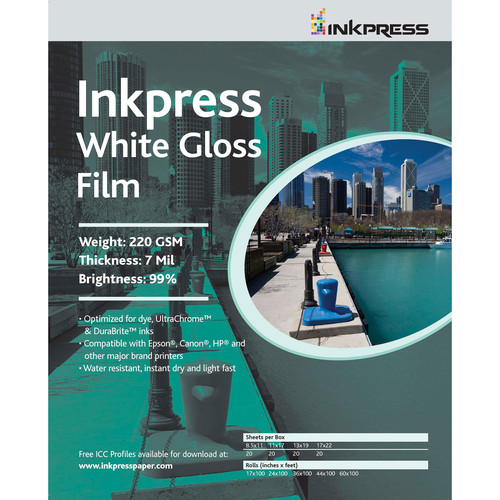 "Inkpress Media White Gloss Film (8.5x11"" - 5 Sheets)"