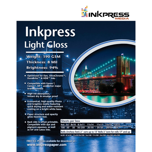 "Inkpress Media Light Gloss (11x17"" - 100 Sheets)"