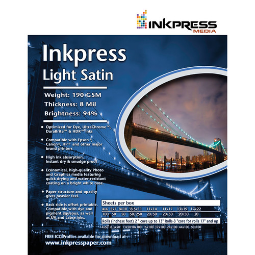 "Inkpress Media Light Satin (8.5x11"" - 100 Sheets)"