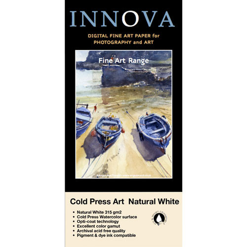 "Innova Cold Press Rough Textured Natural White Paper for Inkjet (8.5x11"", 50 Sheets)"