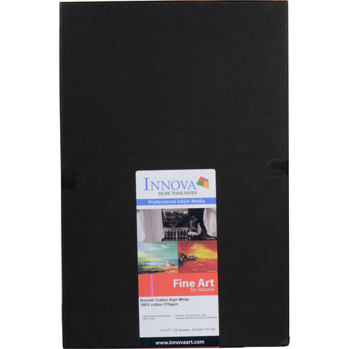 "Innova Smooth Cotton Natural White Paper (11 x 17"", 25 Sheets)"