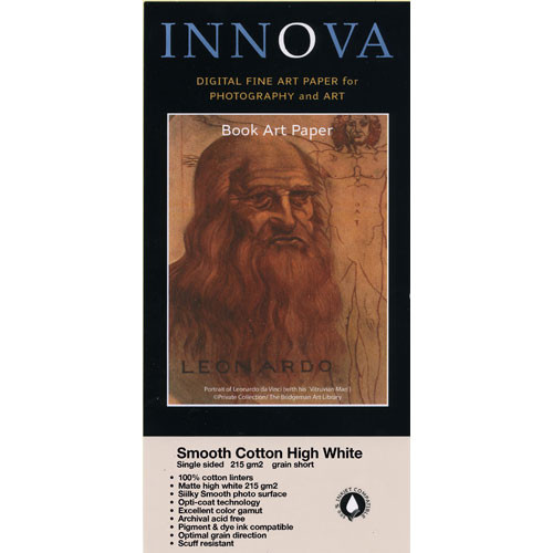 "Innova Smooth Cotton Natural White Paper (17 x 22"", 25 Sheets)"