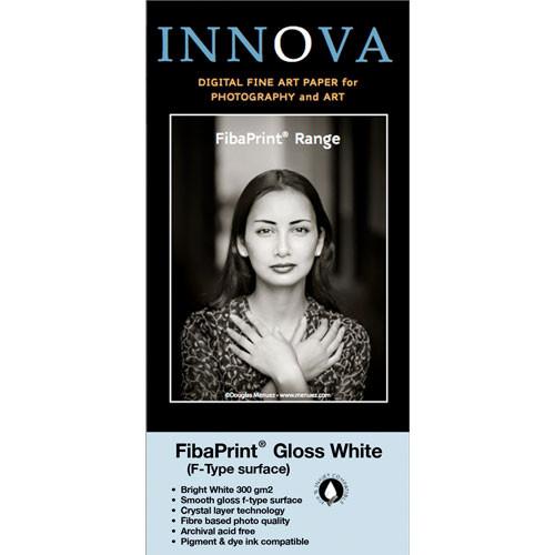 "Innova FibaPrint White Glossy Inkjet Photo Paper 36"" x 49.2' Roll"