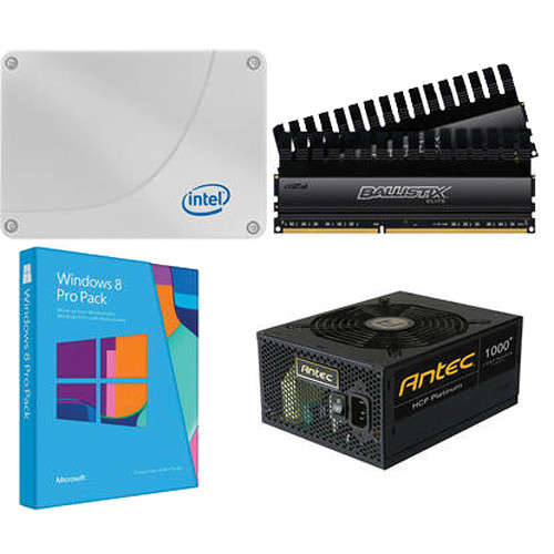 Intel 120GB SSD with Crucial 8GB RAM, Antec 1,000W Power Supply, Windows 8 Pro Pack Kit