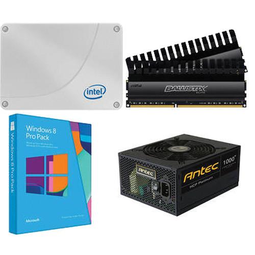 Intel 120GB SSD with Crucial 8GB RAM, Antec 1,000W Power Supply, Windows 8 Pro Pack Kit