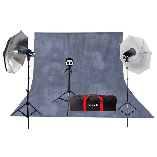Interfit SXT3200 Three-Light Kit with Background