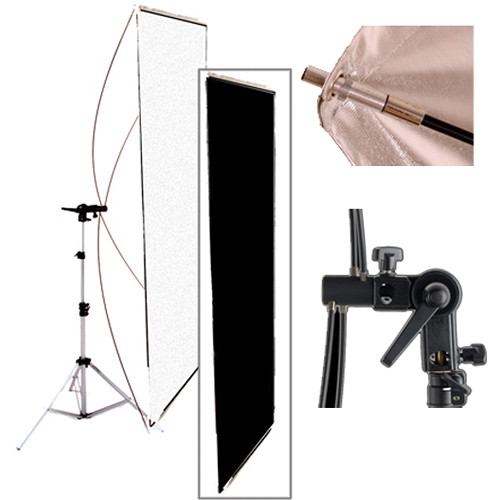 "Interfit Black/White Flat Panel Reflector w/Stand (35x70"")"