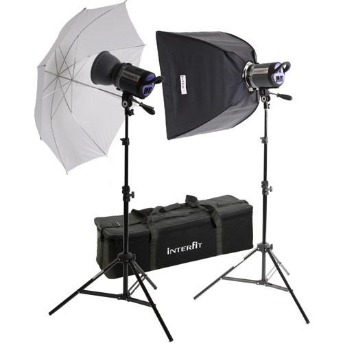 Interfit Stellar X 1000 Flash Two Monolight Umbrella-Softbox Kit (120VAC)