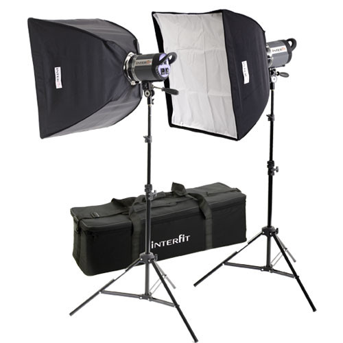 Interfit Stellar X 1000 Flash Two Monolight Twin Softbox Kit (120VAC)