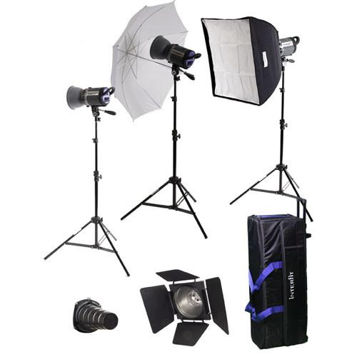 Interfit Stellar X 300 Flash Three Monolight Umbrella-Softbox Kit (120VAC)
