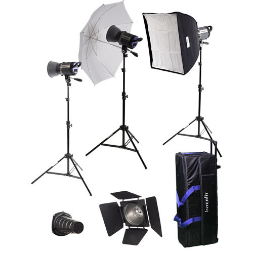 Interfit Stellar X 600 Flash Three Monolight Umbrella-Softbox Kit (120VAC)