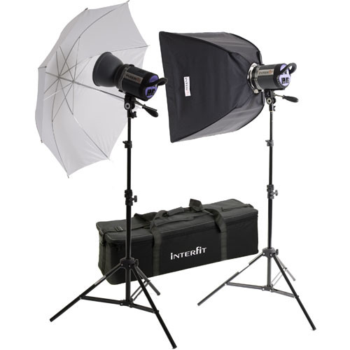 Interfit Stellar XD 1000 Flash Two Monolight Umbrella-Softbox Kit (120VAC)