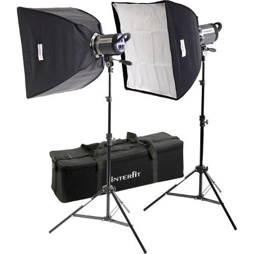 Interfit Stellar XD 1000 Flash Two Monolight Twin Softbox Kit (120VAC)