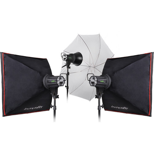 Interfit INT353 EX150 MKIII 3 Monolight Umbrella/Softbox Kit (120VAC)
