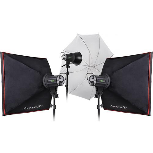 Interfit INT353 EX150 MKIII 3 Monolight Umbrella/Softbox Kit (120VAC)